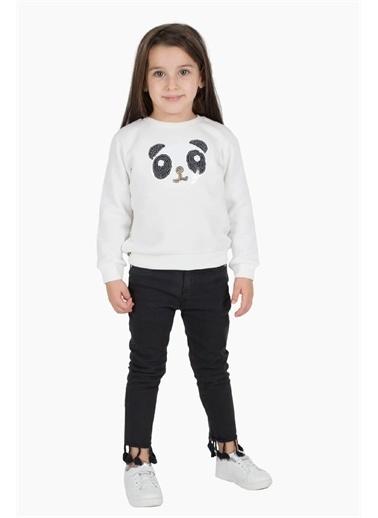 Silversun Kids Sweat Shirt Örme Uzun Kollu Pul Işlemeleli Sweatshirt Kız Çocuk Js-212985 Beyaz